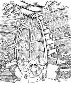 """Ill. af Henrik Kublick til """"Den druknende munk""""."""