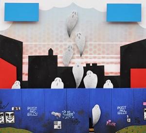 """Maleri af Frodo Mikkelsen til fortællingen """"Vi venter på Gud. Vi tror på graffiti""""."""