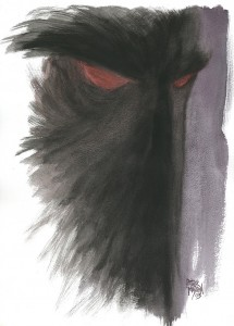 Akvarel af Peter Madsen. Ill. til fortællingen ANSIGTET.
