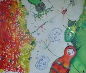 """Maleri af Maja-Sofie Dahl inspireret af nummeret """"Kend dine engle og trolde"""" fra cd'en KIDDE GOES UMPFF."""