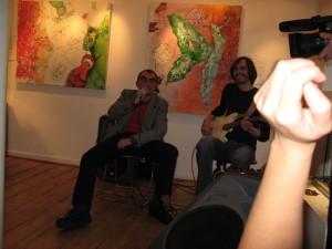 Morten Umpff Langkilde og mig på Galleri Lisse Bruun i anledning af Maja-Sofie Dahls fernisering.